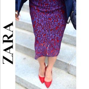 ZARA • Purple & Red Lace Midi Pencil Skirt